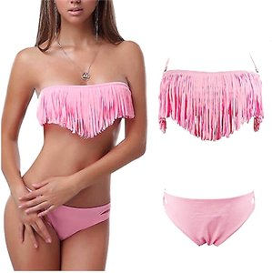 Other Brand New 2 Piece Fringe Bandeau Style Bikini Bathing Suit Small, Medium Large