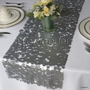 Silver Sequin Table Runner - Quantity 3 Tablecloth