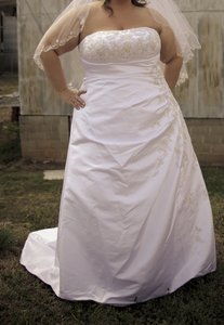 David's Bridal A-line Side Drape Strapless Gown Wedding Dress