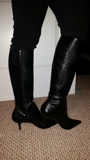 Ann Taylor Alligator Print Leather Knee High BLACK Boots