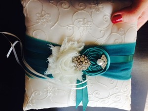 Cream and Teal Ring Bearer Pillow