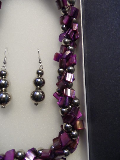Unknown Purple Shell Necklace and Earrings