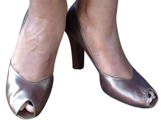 Enzo Angiolini Peeptoe Metalic Copper Pumps