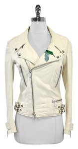 Phillip Plein Cream Leather Embellished Skull Moto Jacket