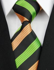 Green/Black/Orange Stripe Classic Elegant Tie/Bowtie