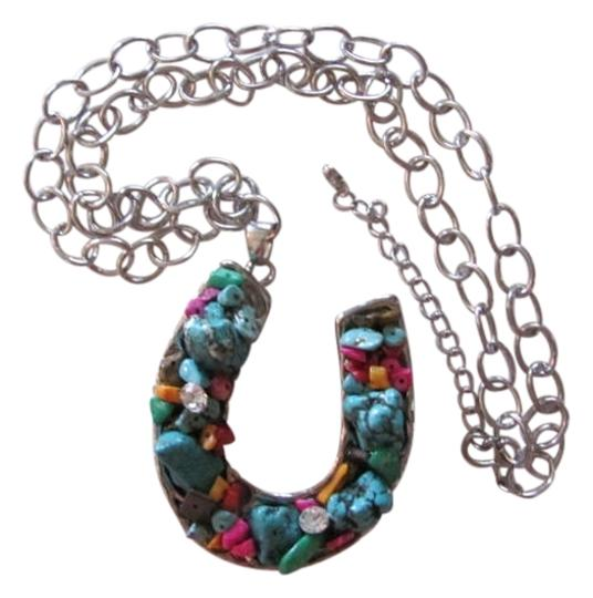 Preload https://img-static.tradesy.com/item/720341/silver-turquoise-hot-pink-chain-horse-shoe-pendantcharm-necklace-0-0-540-540.jpg
