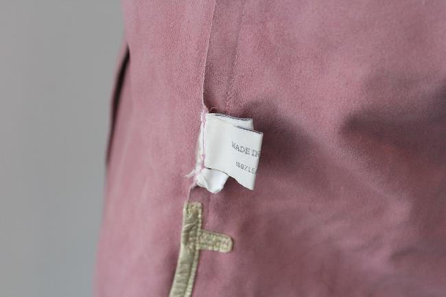 Miu Miu Prada Suede Penny Lane Button Down Shirt Pink