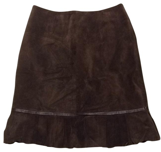 Yvonne la Marie Leather Suede Work Classic Skirt Brown