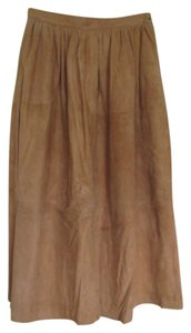 Evan Picone Chamois Skirt Caramel Suede