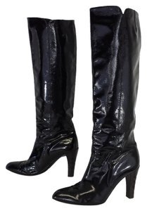 Salvatore Ferragamo Black Patent Leather Knee High Boots