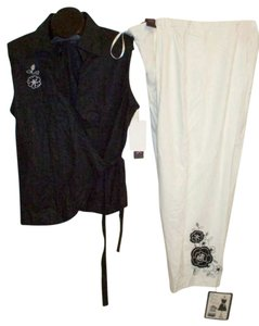 R&K Originals PANTSUIT 20W NWT R&K BLACK & WHITE W EMBROIDERY CROPPED