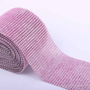 Pink - 10 Yards 24 Rows Diamond Mesh Wrap Roll Rhinestone Crystal Looking Ribbon Trim Wedding