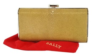 Bally Tan Gold Pebbled Clutch
