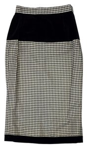 Escada Black Gold Houndstooth Wool Skirt