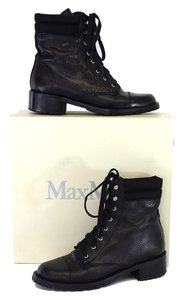 Max Mara Black Pebbled Leather Lace Up Boots