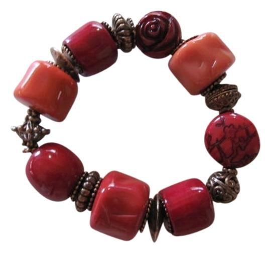 Other CHUNKY BRACELET RED AND COPPER HARDWARE