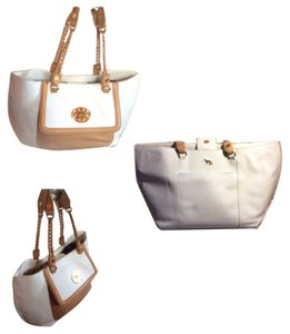 Emma Fox Tote in White & Carmel