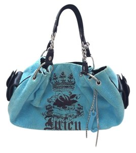 Juicy Couture Terry Cloth Pins Chain Mirror Charms Blue Beach Bag