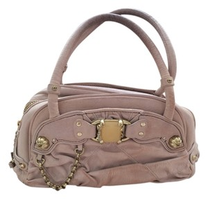 Juicy Couture Leather Chains Stones Pockets Handles Dust Quilted Gold Hardware Bowler Bowler Designer Satchel in Ballerina Pink