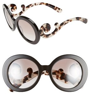 Prada PRADA Oversized Baroque 55mm Round Sunglasses Brown
