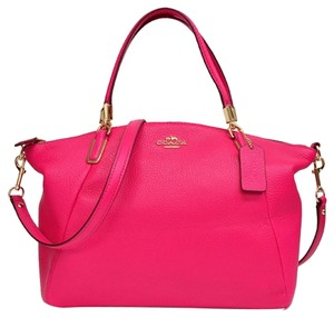 Coach Pebble Leather Carriage Logo Satchel in Hot Pink