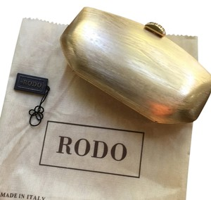Rodo Brushed Metal Gold Clutch