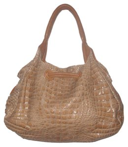 Mania Tan Scaled Croco Embossed Real Leather Satchel Satchel in Tan/Brown