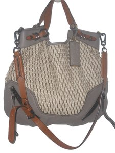OR YANY Gray/Mull Genuine Leather Straw Summer Bag Satchel in Gray/Mull