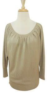 Alice + Olivia Metallic Gathered 3/4 Sleeve Raglan Sweater