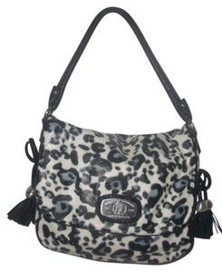 Christian Audigier Satchel in Black/White Leopard