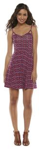 Mudd short dress Pink Printed Skater Short Cut Out on Tradesy