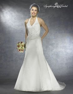Symphony Bridal White / Silver Satin S2207 Wedding Dress Size 12 (L)