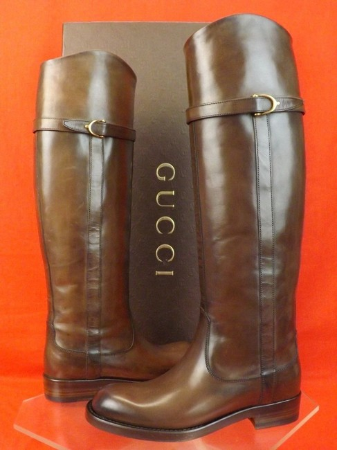Gucci Brown Stirrup Cocoa Leather Eleonora Belted Tall Riding 4 Boots/Booties Size EU 34 (Approx. US 4) Regular (M, B) Gucci Brown Stirrup Cocoa Leather Eleonora Belted Tall Riding 4 Boots/Booties Size EU 34 (Approx. US 4) Regular (M, B) Image 1