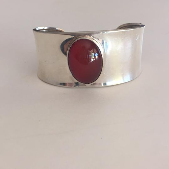Other Sterling Silver Mexican Oval Cabochon Carnelian Cuff Bracelet Image 3