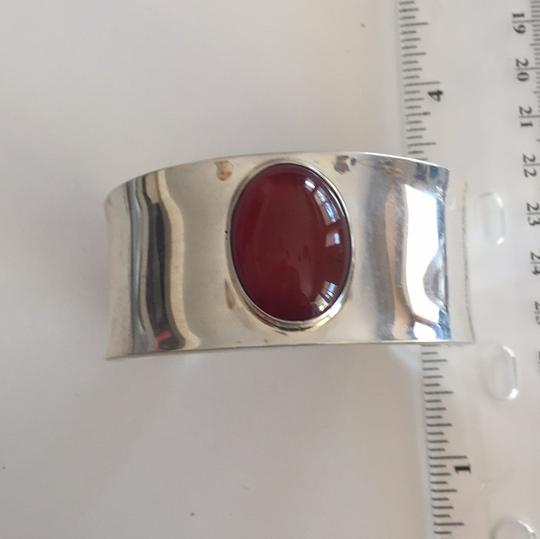 Other Sterling Silver Mexican Oval Cabochon Carnelian Cuff Bracelet Image 5