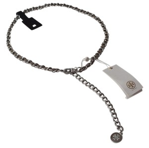 Tory Burch Tory Burch Marion Leather & Chain Belt Size M-L French Gray and Silver Style#12155224