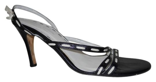 Giulia Calvani Leather black & cream Sandals