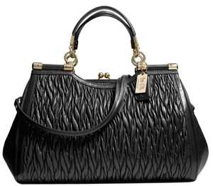 Coach Madison Carrie Twist Leather Satchel in Black