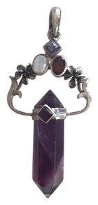 Other Sterling Silver Polished Amethyst Crystal & Gemstone Pendant