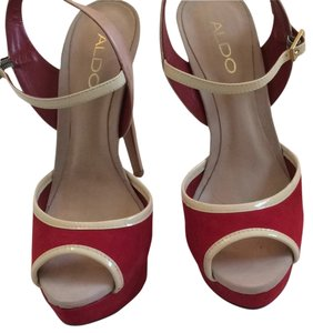 ALDO Red and nude Platforms