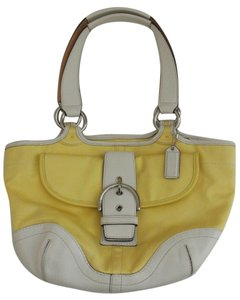 Coach Canvas Leather Trim Satchel Tote in yellow