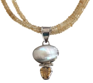Sterling Silver Mother Of Pearl And Citrrine Necklace