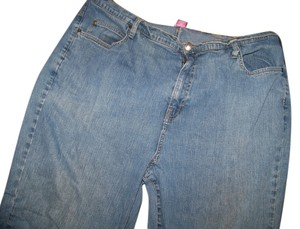 Catherines Womans Size 22w Straight Leg Jeans-Light Wash