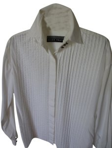 Ellen Tracy Tuxedo Style Blouse Shirt Pleated Front Button Down Shirt white