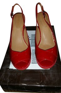 Corso Como Shoe Sling Back Red Patent and Suede Wedges