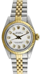 Rolex Rolex Oyster Perpetual Gold and Stainless Steel Custom Diamond Dial Ladies Watch