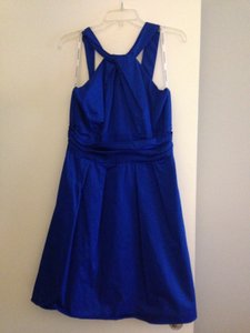 David's Bridal Horizon (Blue) Cotton Short Y-neck and Skirt Pleating Style 83690 Casual Bridesmaid/Mob Dress Size 12 (L)