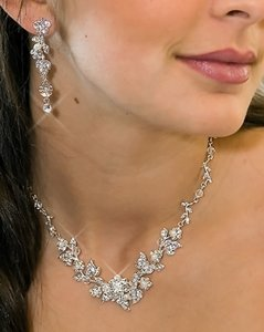 Elegance By Carbonneau Crystal And Pearl Vine Wedding Jewelry Set