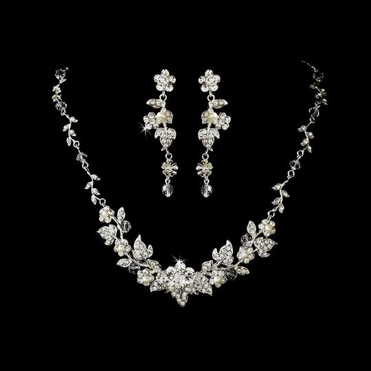 Elegance by Carbonneau Silver Crystal and Pearl Vine Jewelry Set