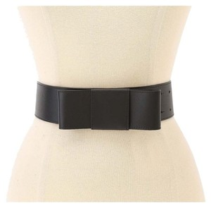 Kate Spade $128 Kate Spade Wide Bow Belt Black Leather Size S Small